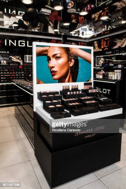 JLOXInglot by Jennifer Lopez beauty products are displayed at the JLOXInglot presentation on April 26 2018 in Milan Italy