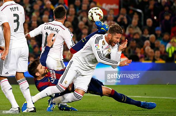 Pepe Gerard Pique and Sergio Ramos in the match between FC Barcelona and Real Madrid for the week 28 of the Liga BBVA played at the Camp Nou on march...
