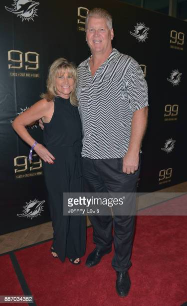 JMary Dellenbach and Jeff Dellenbach attend The Miami Dolphins 'Hall of Fame Celebration' hosting Jason Taylor at Hard Rock Stadium on December 02...