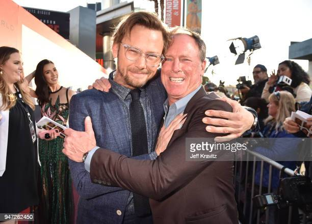 Jmmi Simpson and Louis Herthum attend the Los Angeles Season 2 premiere of the HBO Drama Series WESTWORLD at The Cinerama Dome on April 16 2018 in...