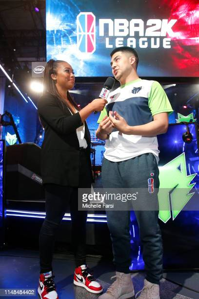 JMoneyRep817 of TWolves Gaming speaks with the media after the game against Jazz Gaming during Week 8 of the NBA 2K League regular season on June 7...