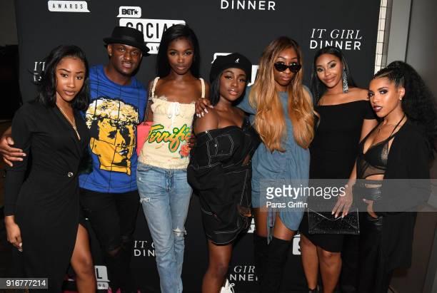 JMulan BlameItOnKway Leomie Anderson Sandra Lambeck LaLa SizaHands Jasmine Luv and Jasmin Brown attend BET's Social Awards 2018 It Girls Welcome...