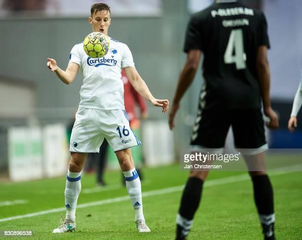 Ján Gregus of FC Copenhagen controls the ball during the Danish Alka Superliga match between FC Copenhagen and AC Horsens at Telia Parken Stadium on...