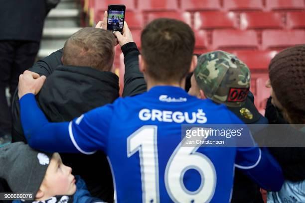 Ján Gregus of FC Copenhagen doing selfie with fans after the test match between FC Copenhagen and Vejle Boldklub in Telia Parken Stadium on January...
