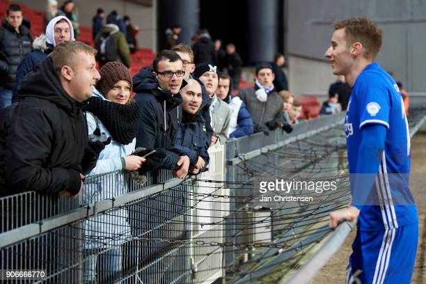 Ján Gregus of FC Copenhagen talk to the fans after the test match between FC Copenhagen and Vejle Boldklub in Telia Parken Stadium on January 18 2018...