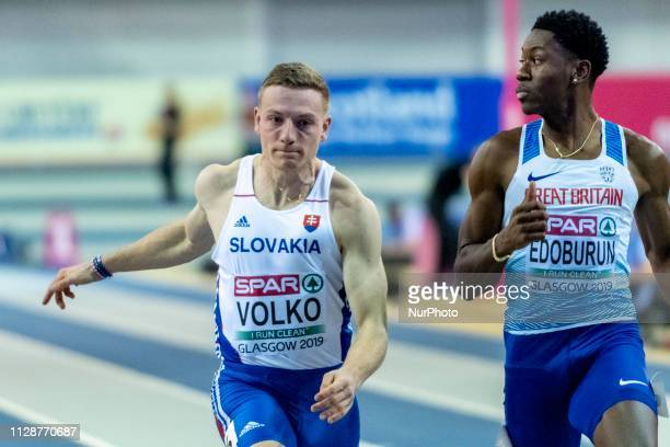 Jn SVK and EDOBURUN Ojie GBR competing in the 60m Men SemiFinals event during day TWO of the European Athletics Indoor Championships 2019 at Emirates...