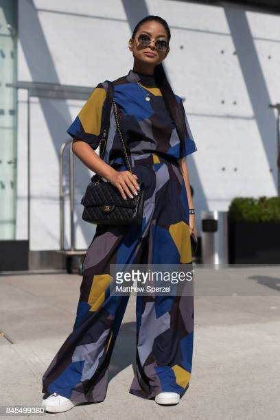 Jnel is seen attending Public School during New York Fashion Week wearing Youth Machine on September 10 2017 in New York City