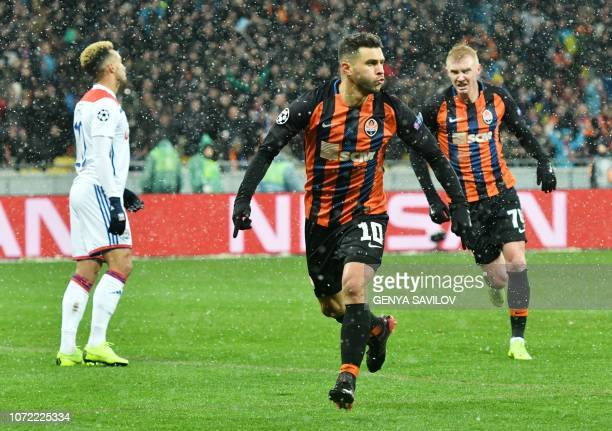 Júnior Moraes of Shakhtar reacts after scoring during the UEFA Champions League Groupe F football match FC Shakhtar Donetsk and Olympique Lyonnais on...