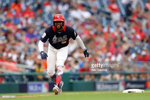 Jo Adell of Team USA leads off third base during the SiriusXM All-Star Futures Game at Nationals Park on Sunday, July 15, 2018 in Washington, D.C.
