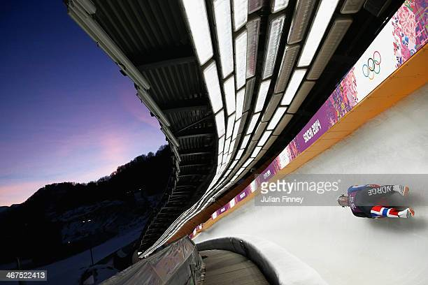 Jo Alexander Koppang of Norway in the Luge during a training session ahead of the Sochi 2014 Winter Olympics at the Sanki Sliding Center on February...