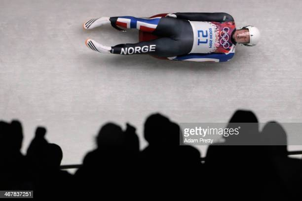 Jo Alexander Koppang of Norway makes a run during the Luge Men's Singles on Day 1 of the Sochi 2014 Winter Olympics at the Sliding Center Sanki on...