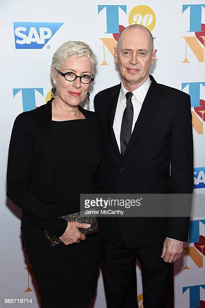 Jo Andres and actor Steve Buscemi arrive for music legend Tony Bennett's 90th birthday celebration at The Rainbow Room on August 3 2016 in New York...
