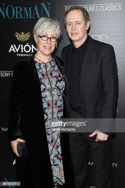 Jo Andres and Steve Buscemi attend a screening of Sony Pictures Classics' Norman hosted by The Cinema Society at the Whitby Hotel on April 12 2017 in...
