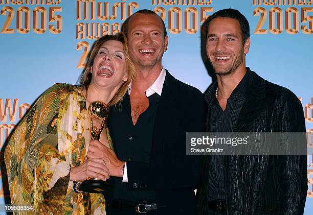 Jo Champa Biagio Antonacci and Raoul Bova during 2005 World Music Awards Press Room at Kodak Theatre in Los Angeles CA United States