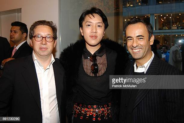 Jo Cheng and Francisco Costa attend Madison Avenue Where Fashion Meets Art Presents Brendan Cass I Love New York at Calvin Klein Collection on April...