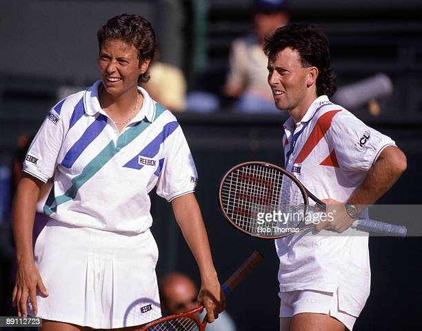 Jo Durie and Jeremy Bates of Great Britain during the Wimbledon Lawn Tennis Championships held at the All England Club in London England during July...