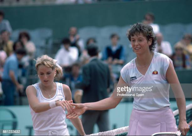 Jo Durie of Great Britain and Tracy Austin of the USA shake hands after Durie wins their Women's Singles QuarterFinal match during the French Open...