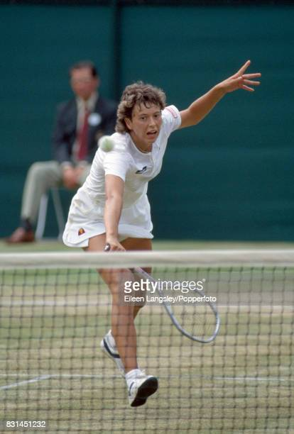 Jo Durie of Great Britain during a women's singles match at the Wimbledon Lawn Tennis Championships in London circa July 1984 Durie was defeated in...