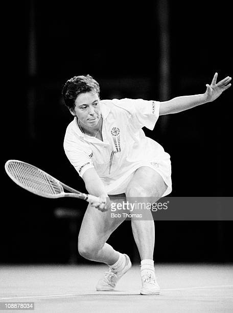 Jo Durie of Great Britain during the Wightman Cup Tennis tournament held at the Royal Albert Hall London on the 3rd November 1988