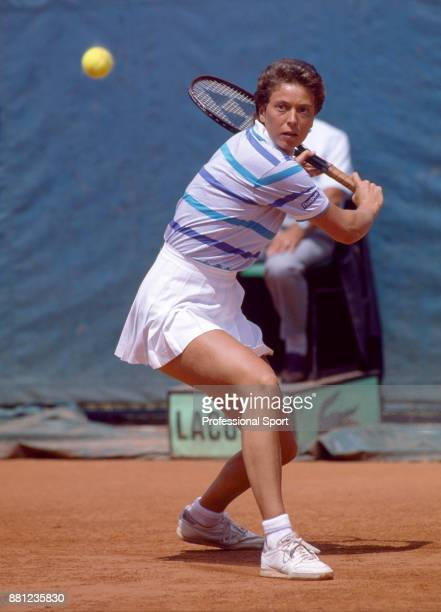 Jo Durie of Great Britain in action against Anne Hobbs during their Women's Singles First Round match in the French Open Tennis Championships at the...