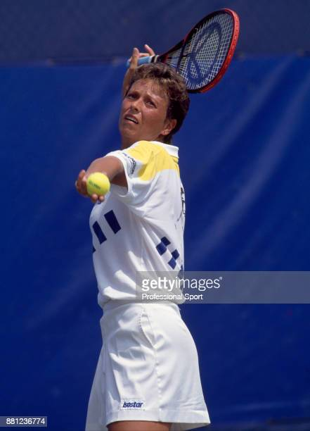 Jo Durie of Great Britain in action against Helena Sukova of Czechoslovakia during their Women's Singles First Round match in the US Open at the USTA...