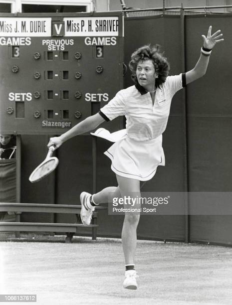 Jo Durie of Great Britain in action against Pam Shriver of the USA during their Women's Singles Fourth Round match in the Wimbledon Lawn Tennis...