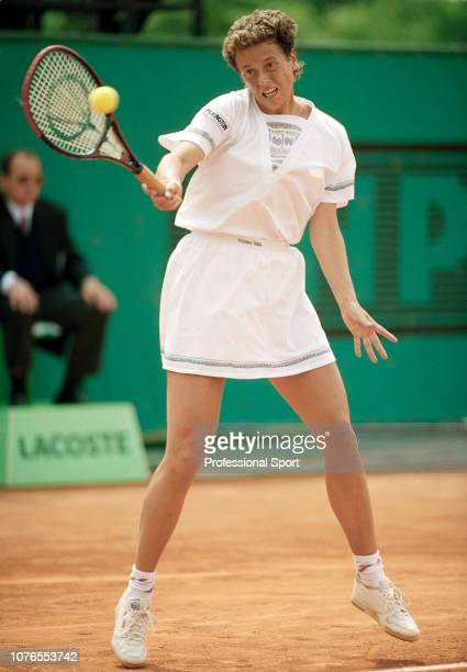 Jo Durie of Great Britain in action against Sabine Hack of Germany during the women's singles first round on day two of the 1991 French Open at...