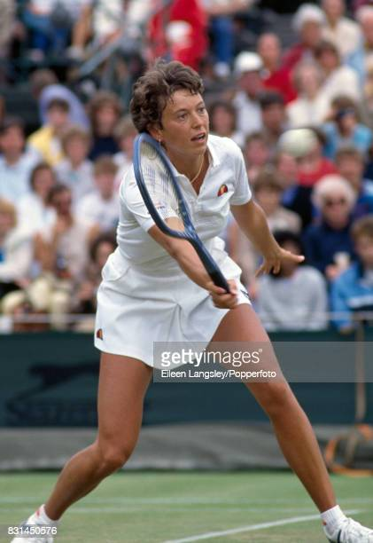 Jo Durie of Great Britain in action during a women's singles match at the Wimbledon Lawn Tennis Championships in London circa July 1984 Durie was...