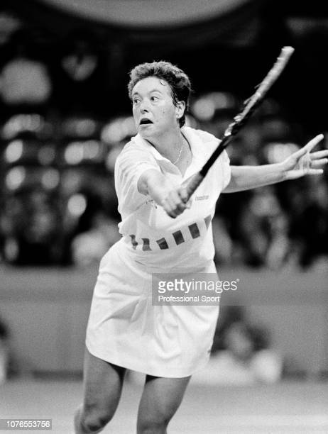 Jo Durie of Great Britain in action during the Midland Bank Championships at the Brighton Centre in Brighton England circa October 1990