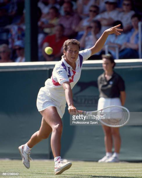 Jo Durie of Great Britain in action during the Pilkington Glass Tennis Championships at Devonshire Park circa June 1989 in Eastbourne England