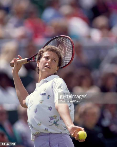 Jo Durie of Great Britain in action during the Pilkington Glass Tennis Championships at Devonshire Park circa June 1991 in Eastbourne England
