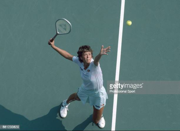Jo Durie of Great Britain in action during the US Open at the USTA National Tennis Center circa September 1983 in Flushing Meadow New York USA