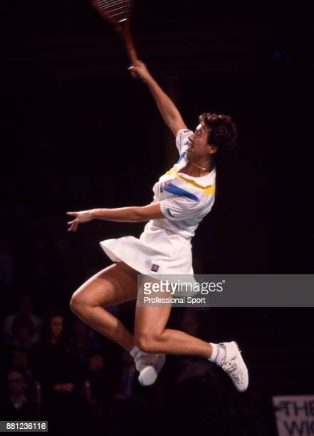Jo Durie of Great Britain in action during the Wightman Cup tennis competition at the Royal Albert Hall in London England circa November 1986