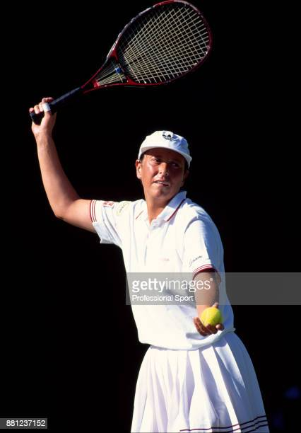 Jo Durie of Great Britain in action during the Wimbledon Lawn Tennis Championships at the All England Lawn Tennis and Croquet Club circa June 1995 in...