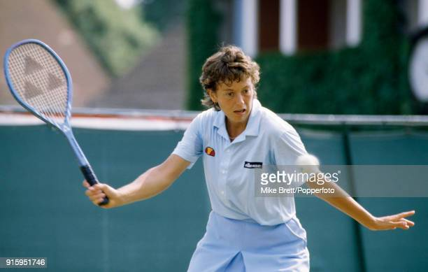 Jo Durie of Great Britain in action during the women's singles competition at Eastbourne circa June 1984