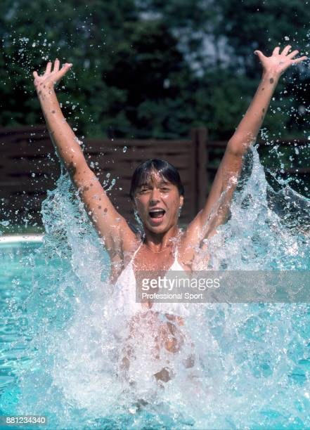 Jo Durie of Great Britain in the swimming pool on a day off during the US Open at the USTA National Tennis Center circa September 1983 in Flushing...