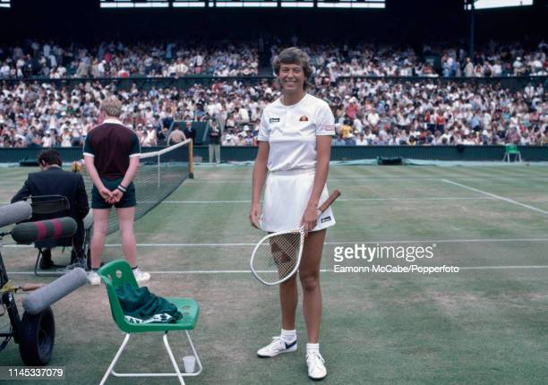 Jo Durie of Great Britain poses before a match on Centre Court at the 1983 Wimbledon Championships at the All England Lawn Tennis and Croquet Club in...
