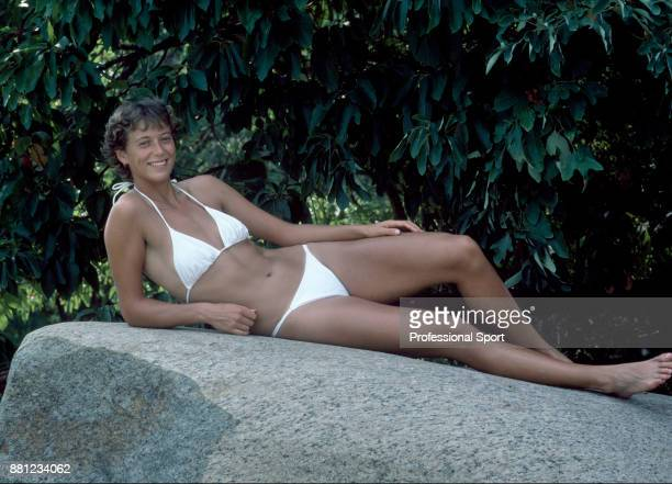 Jo Durie of Great Britain relaxes on a day off during the US Open at the USTA National Tennis Center circa September 1983 in Flushing Meadow New York...