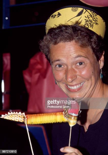 Jo Durie of Great Britain wearing a hat at the Players' Party during the Pilkington Glass Tennis Championships at Devonshire Park circa June 1991 in...