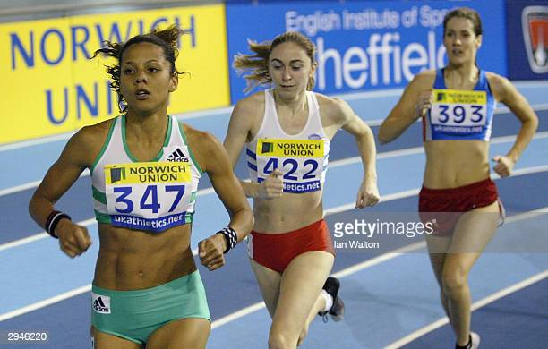 Jo Fenn of England in action in the Womens 1500 metres final during the Norwich Union World Indoor Athletics Trials at the English Institue of Sport...