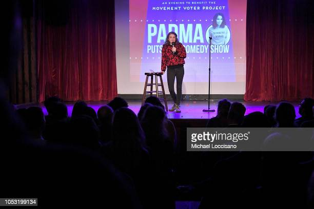 Jo Firestone performs during the the Movement Voter Project comedy benefit at The Bell House on October 24 2018 in the Brooklyn borough of New York...