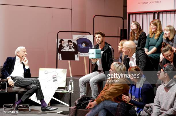 Jo Groebel and German actor Thore Schoelermann during the discussion panel of Clich'e Bashing 'soziale Netzwerke Real vs Digital' In Berlin at DRIVE...