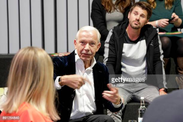Jo Groebel and German presenter and actor Thore Schoelermann during the discussion panel of Clich'e Bashing 'soziale Netzwerke Real vs Digital' In...