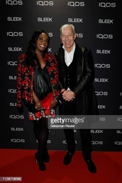 Jo Groebel and guest during the Sleek X IQOS Valentines Party at Claerchens Ballhaus on February 14 2019 in Berlin Germany