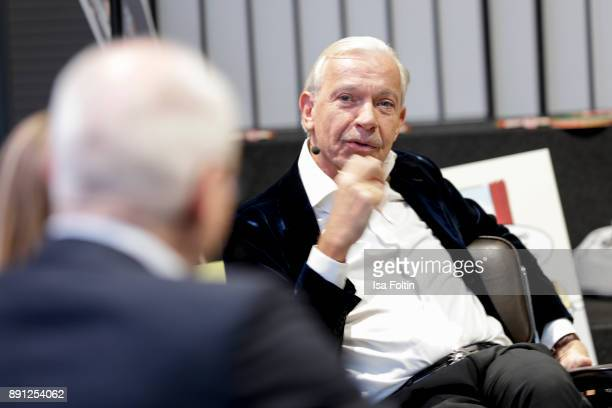 Jo Groebel during the discussion panel of Clich'e Bashing 'soziale Netzwerke Real vs Digital' In Berlin at DRIVE Volkswagen Group Forum on December...
