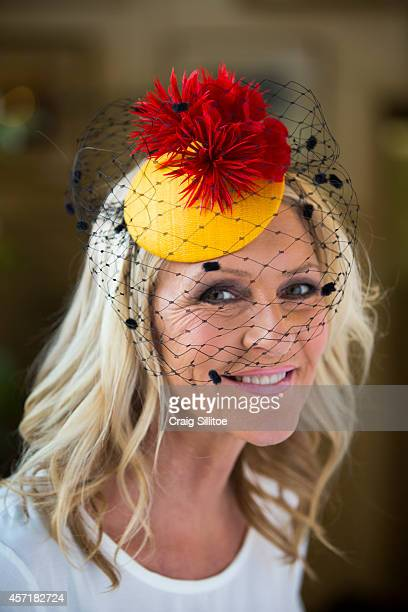 Jo Hall wears one of Chantelle's designs at the Ford Millinery launch on October 1, 2014 in Melbourne, Australia.