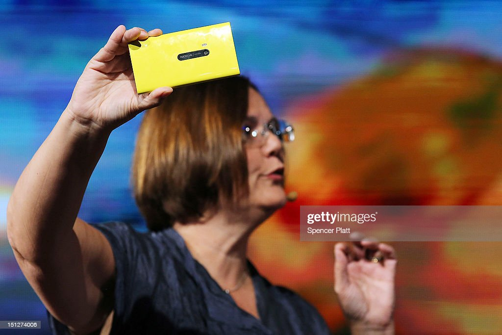 Jo Harlow, Nokia's executive vice president for smart devices, displays the new Nokia Lumia 920 smartphone during a joint event with Microsoft on September 5, 2012 in New York City. The new Nokia phones are the first smartphones built for Windows 8. Analysts see the new phones as Nokia's last chance to compete with fellow technology companies Apple and Samsung in the lucrative smartphone market.