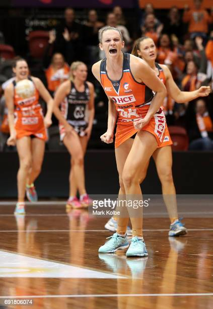Jo Harten of the Giants celebrates victory during the Super Netball Major Semi Final match between the Giants and the Magpies at Sydney Olympic Park...