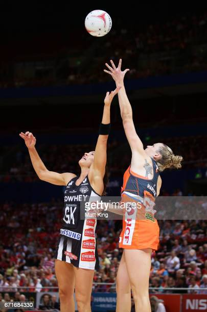 Jo Harten of the Giants competes with Sharni Layton of the Magpies during the round nine Super Netball match between the Giants and the Magpies at...