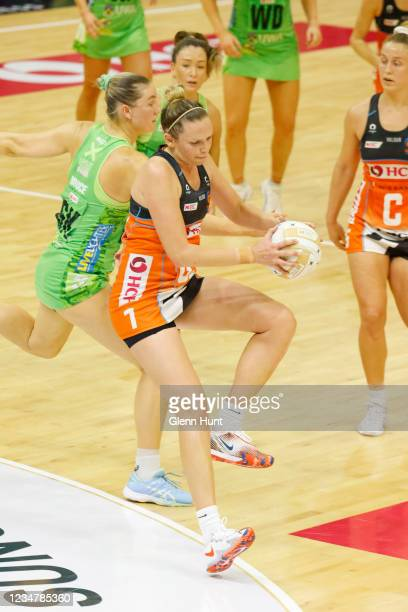 Jo Harten of the Giants grabs a pass during the Preliminary Final Super Netball match between the GWS Giants and West Coast Fever at University of...